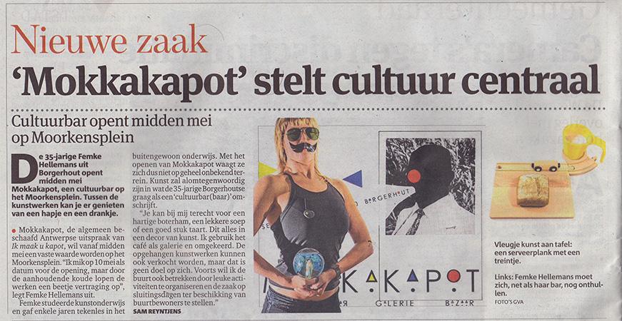 Artikel in Gazet Van Antwerpen